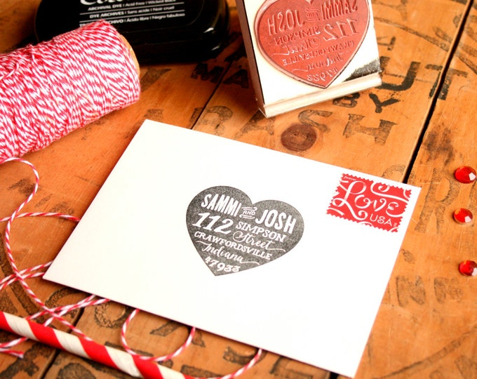 "Featured listing image: Valentines Day Gift for Him - Heart Return Address Stamp - Wedding RSVP Stamp - Custom Wedding Gift - Wedding Invitations 2"" Rubber Stamp"