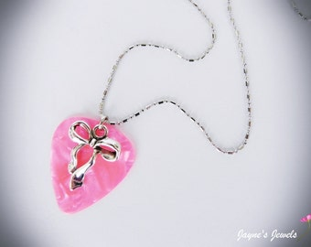Pink Guitar Pick Necklace, Silver Bow, Pink Pearl, Genuine guitar pick, Pearlised Guitar Pick