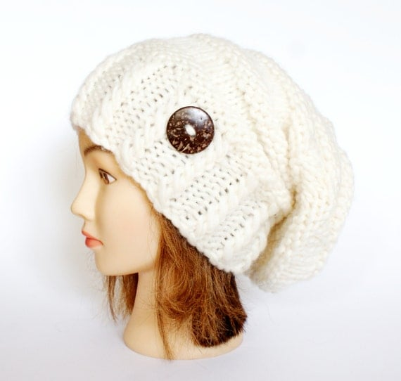Slouchy beanie hats white wool slouch hat beanies with button for women teenagers irish handknit knitted chunky knit accessory
