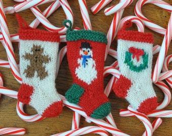 Gingerbread Man, Snowman & Wreath Hand-Knit Christmas Stocking Ornaments