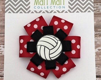 Volleyball Hair Bows - Volleyball Hair Bow Ponies - Volleyball Team Hair Bows - Volleyball Hair Accessories - Volleyball Team Spirit Bow