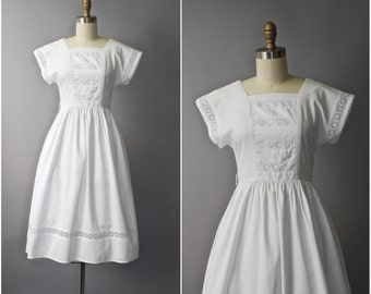 1970's Lanz Originals white cotton eyelet sun dress • extra small