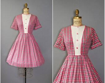 1950's Pink Plaid Dress • Cotton Day Dress • 50's Pink Shirtdress
