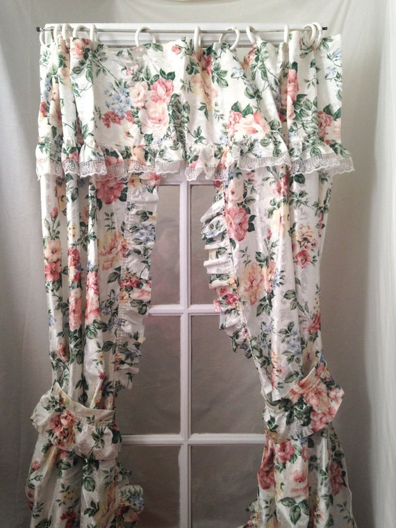 Ruffle shower curtain swag floral shabby rose cottage chic for Shabby chic rhinestone shower hooks