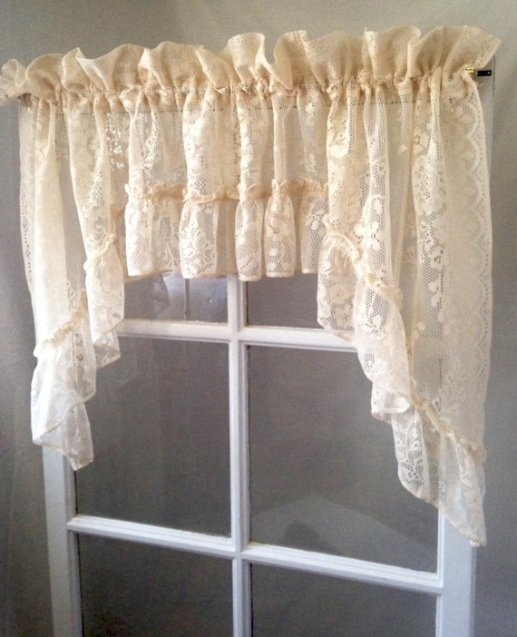 Victorian Soft Peach Ivory Ruffled Curtain Valance Swag