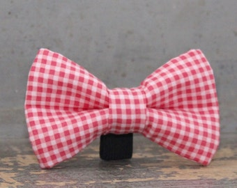 Coral Pink Wedding Dog Bow Tie. Gingham Doggie Tie