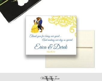 Beauty and the Beast Magnet Wedding Favors, Disney Wedding Favors, Magnet Postcards - Envelopes Included