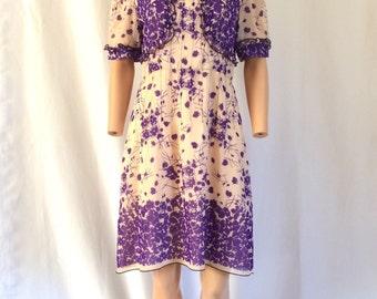 Anna Sui Floral Silk Babydoll Dress Sz. 6