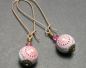Red/Pale Blue Sphere Earrings - Copper Ear wires - Handmade Earrings - Long Drop