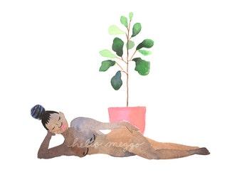 Lady+Plant 3 Art Print