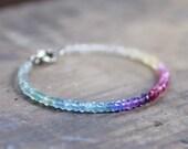 Rainbow Ombre Multi Gemstone Bracelet, Yellow Citrine Pink Tourmaline Purple Amethyst Aquamarine, Shaded Multicolor Gradient Beaded Bracelet