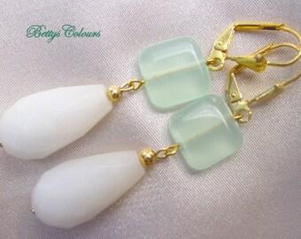 20% SALE White jade earrings, teardrops earrings, adventurine earrings