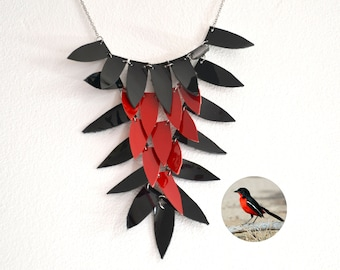 Bold necklace, statement leather necklace, Leather necklace, Statement necklace, bib necklace, Red and black, modern jewelry, geometric