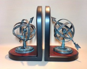 1970s Reproduction Armillary Sphere Sun Dial Book Ends. Retro Bookends. Library Book Ends. Desk Accessories. Library Fittings. Home Decor.