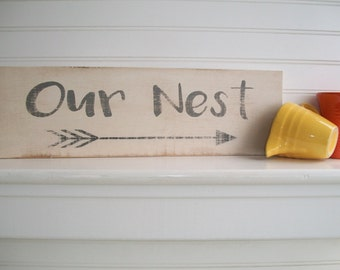 Our Nest Sign . Cottage Decor . Bless Our Nest . Fixer Upper . 28 1/2 x 7 . Modern Country . Wood Sign . Rustic Sign
