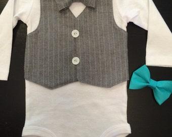 Grey Pinstripe Vest Bowtie Onesie