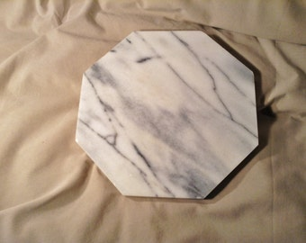 Marble Trivet or Hotplate - White and Grey Swirled Stone Octagon Shaped Trivet