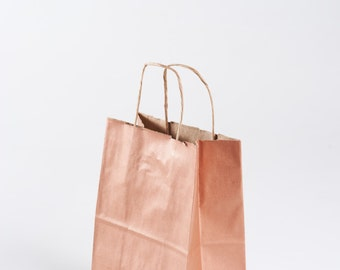 75 rose gold gift bags with handles for wedding guests welcome bag party favor