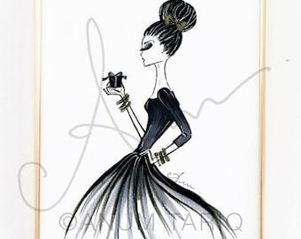 "Fashion Illustration Print, Holiday Glam, 8x10"""