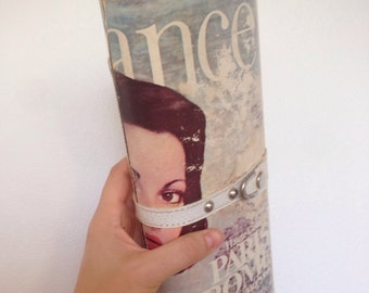 Vintage plastic magazine retro clutch purse - 1970's Elegance magazine