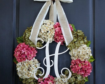 Hydrangea Wreath - Summer Door Wreath  Grapevine Wreath for door Wreath for Door   Door Wreath - Wreaths - Grapevine Wreath