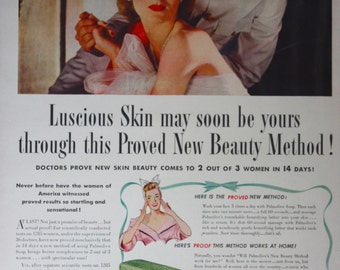 1943 ad Palmolive Beauty Soap Vintage Print Ad