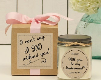 Will you be my Bridesmaid Gift // Will you be my Maid of Honor Gift // Bridesmaid Candle // Maid of Honor Candle - Jenna label