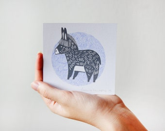 Donkey Illustration Linocut Print