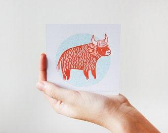 Ox Illustration Linocut Print