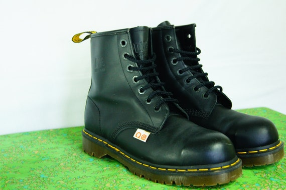 vintage black doc marten boots made in steel toe