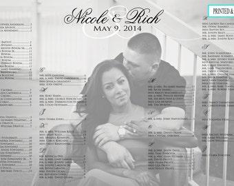 Wedding  Seating Chart ,Photo seating chart/Printed Seating Chart/Photo/Alphabetical Seating Chart/Wedding Seating/ Black and White/PRINTED