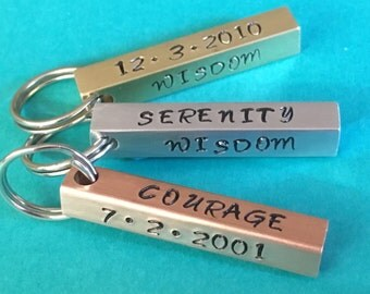 sober date,serenity prayer gift, recovery date gift, aa gift, sobriety gift, recovery gift, sobriety keyring, sober gift, motivational gift,