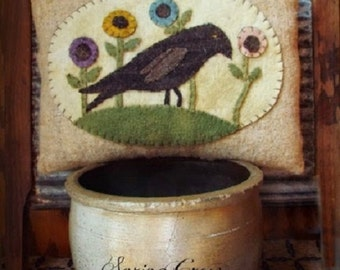 "Pattern: ""Spring Crow"" Wool Applique Pillow by Teresa's Primitive Treasures"