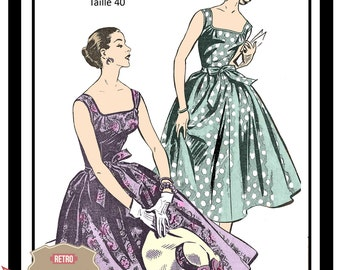 1950s Summer Frock Vintage French Sewing Pattern  - PDF Full Size Sewing Pattern - Rockabilly - Pin Up - Instant Download