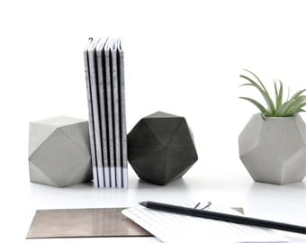 Concrete Icosahedron and Cuboctahedron Modular Sculpture Set of Two, geometric modern paperweight, bookend, office or home decor, gift set