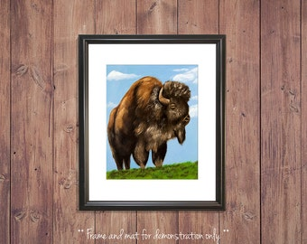 Buffalo Print from Original Oil Painting, Bison, 4x5, 8x10