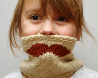 Kids Mustache knit scarf, kids winter accessories size 2-8 years, toddler loop scarf, infinity circle scarf, chunky scarf