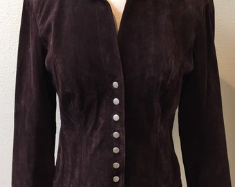 Dark Brown Suede Leather / Snap Down Front / Fitted Blazer / Jacket / Ladies Size Small