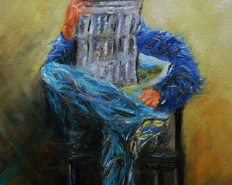 Original figurative oil painting on Canvas male figurative art reader books