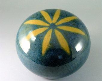 Ceramic Garden Art Orb, Glossy Teal Blue with Gold Flower / Pottery Garden Sphere