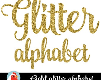 Gold Glitter Alphabet - Gold Alphabet - sparkly glitter script handwriting alphabet, gold glitter clip art letters 5032