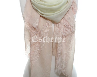 Pink Ecru Degrade Lightweight So Soft Lace Scarf Spring Summer Woman Accessory Fashion Scarf Mother's Day Gifts Ideas For Her For Mom