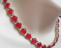 Vintage 1950's red CORO lucite necklace ~ lipstick cherry red moonglow ~ gold tone metal ~ signed ~ thermoset plastic