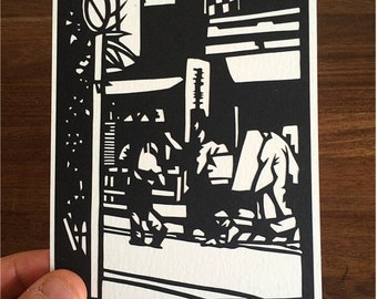 Hand Made Papercut Postcard - Paper Cut Artwork with Hand Crafted Envelope. Based on Original Fine Art Paper-cut of Geishas in Tokyo, Japan