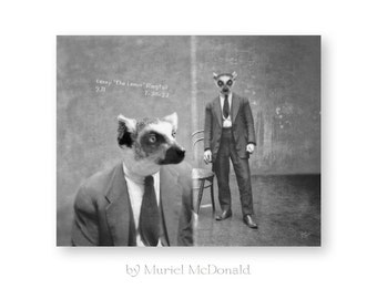 Animal Art Print Lemur Animals In Clothes Anthropomorphic Black and White Photography Funny Vintage Mugshot Industrial Loft Decor (2 sizes)