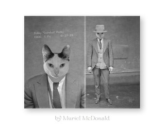 Cat Art Print Animal Art Anthropomorphic Animals In Clothes Black and White Photography Industrial Loft Decor Vintage Mugshot (2 sizes)