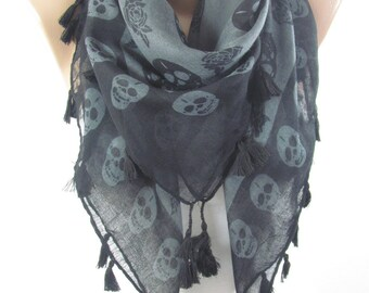 SALE Skull Scarf Day of The Dead Scarf Cross Bones Tassel Scarf Halloween Scarf Fall Winter Women Fashion Accessories Christmas Gift For Her