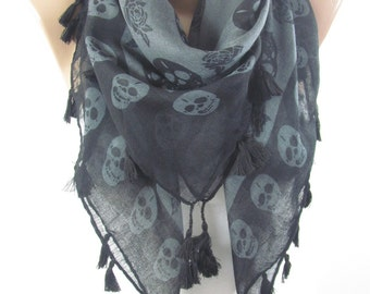 Skull Scarf Day of The Dead Scarf Cross Bones Tassel Scarf Halloween Scarf Fall Winter Women Fashion Accessories Christmas Gift For Her