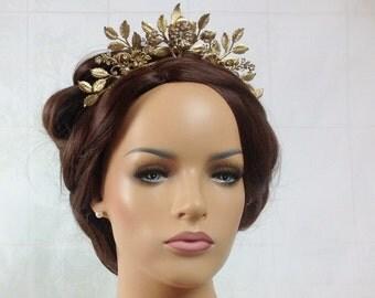 Bridal crown - Gold leaf headband with Swarovski crystal - Ready to ship