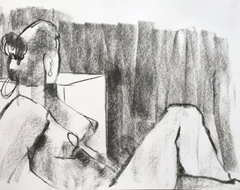 Woman side view, looking backwards. Original. Drawing. Art